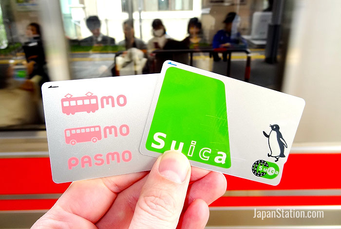 Pasmo and Suica are rechargeable prepaid rail cards widely used in the Tokyo area