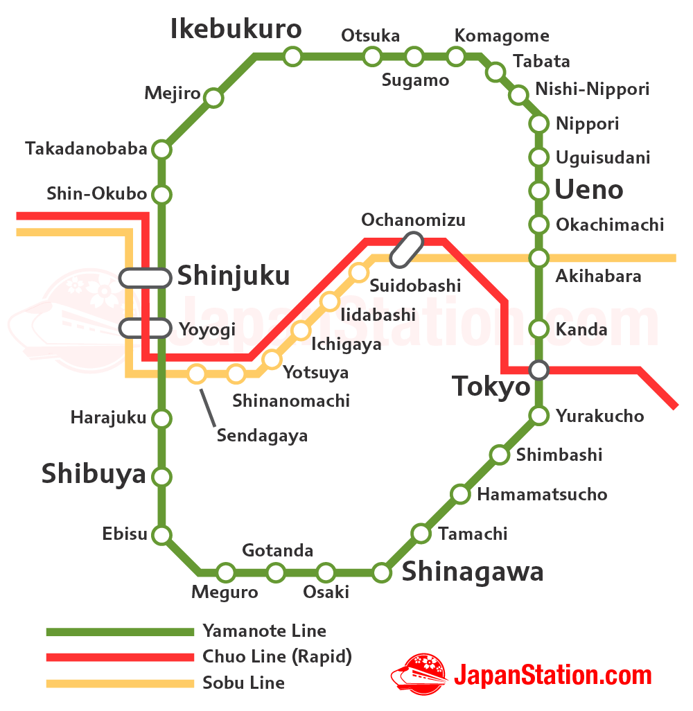 Chuo Line Rapid and Sobu Line Map
