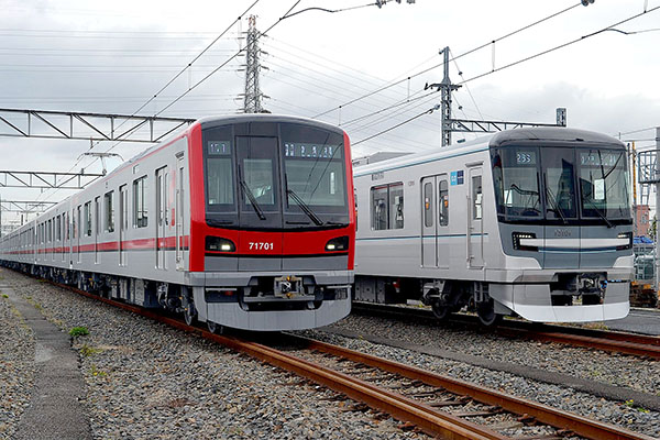 The Tobu 70000 and Tokyo Metro 13000 together