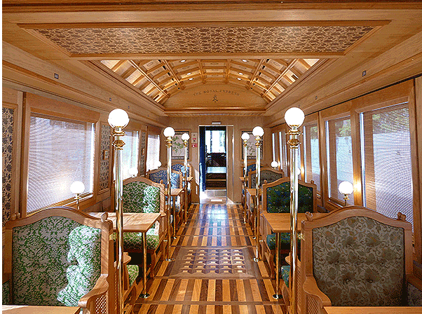 The seating and interiors are so richly decorated that the train resembles a palace on wheels