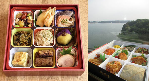 A Japanese style bento on the left and a Chinese bento on the right
