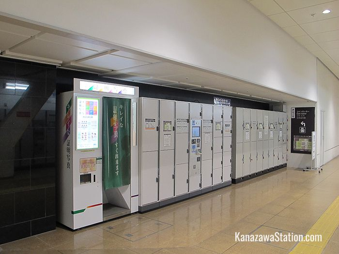 There are lockers on both sides of the corridor here