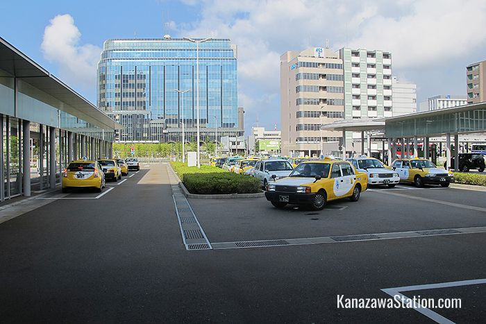 The taxi rank at Kanazawa Station's west exit