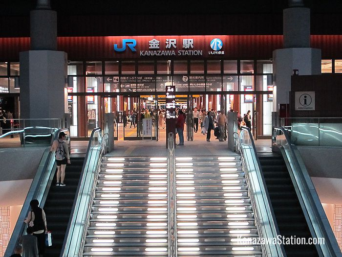 The East Exit of Kanazawa Station. Escalators in front of the exit go underground to the Hokutetsu Kanazawa Station