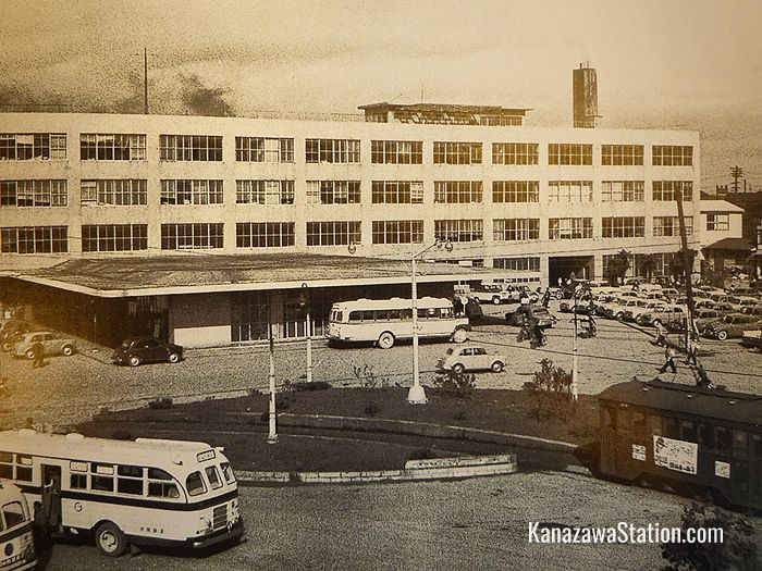 Kanazawa Station in 1963. Notice the tramlines in front