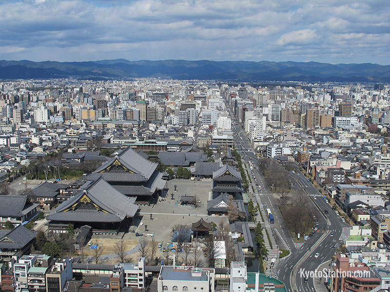 The view from the Observation Deck at Kyoto Tower