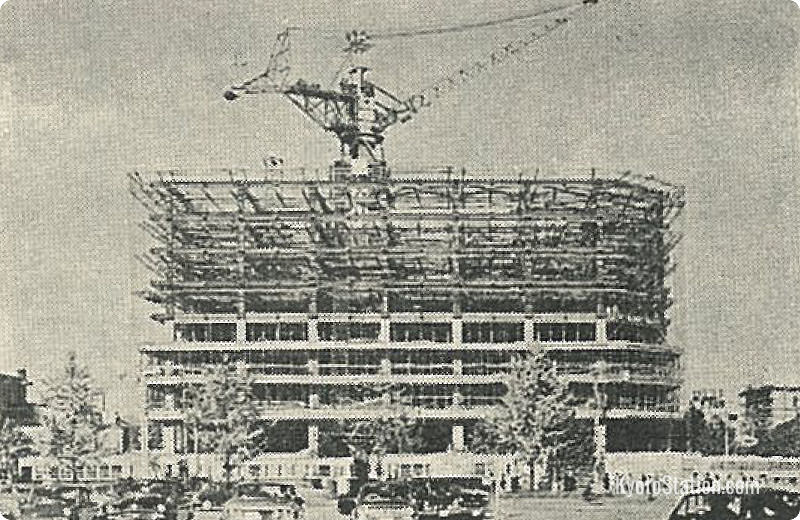 Construction of the Kyoto Tower building