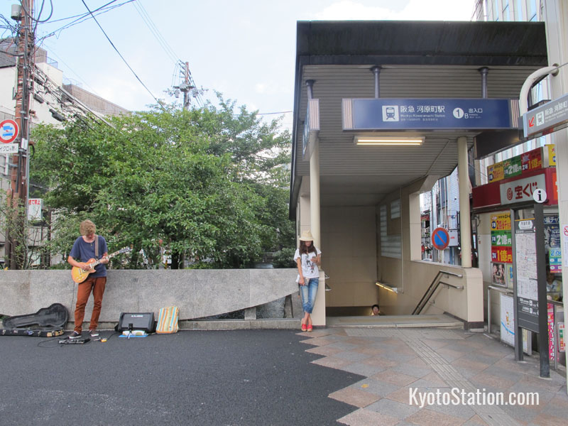 An entrance to Kawaramachi Station on Shijo Street