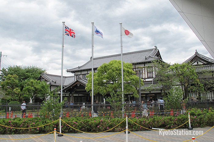 The flags of both Japan and Great Britain fly outside the museum to emphasize the historic development of railway technology in these two countries