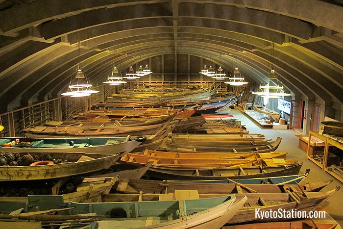 A display of antique wooden boats in Toba Sea-Folk Museum