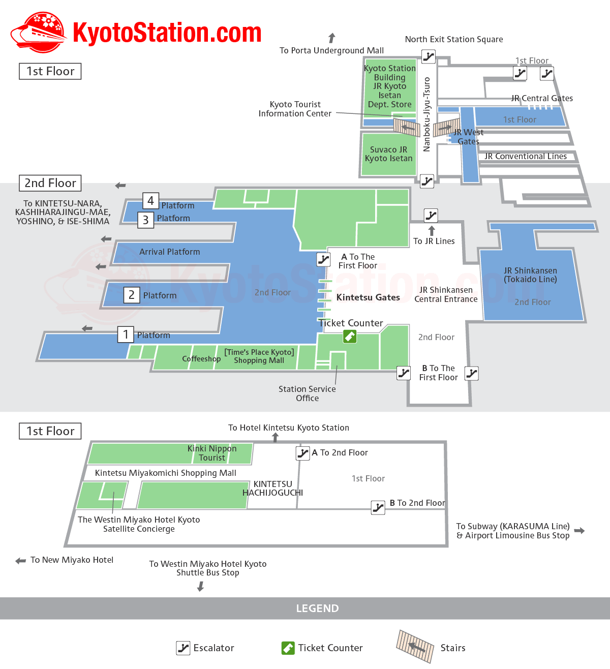 Kintetsu Kyoto Station Layout Map