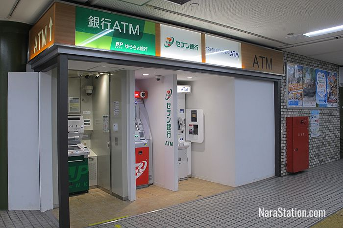 These ATM machines are on the west side of the station