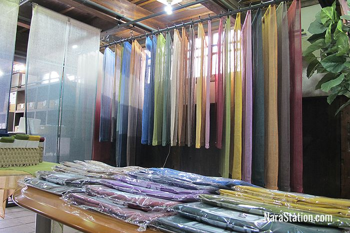 A colorful line-up of noren split curtains