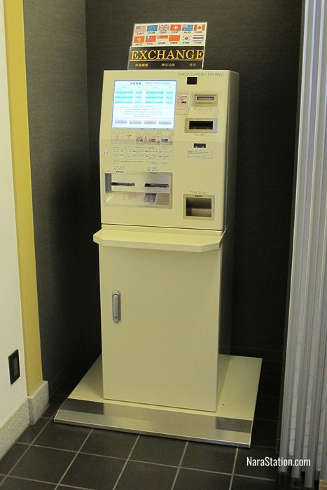 The currency exchange machine inside the Tourist Information Center