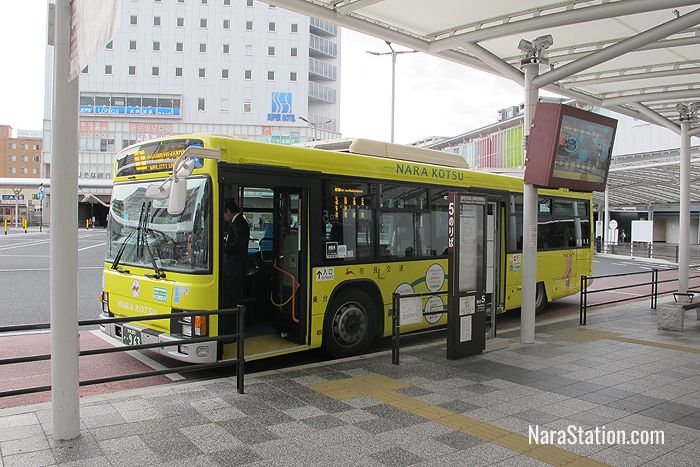 The anti-clockwise #1 service at JR Nara Station's East Gate bus stop 5