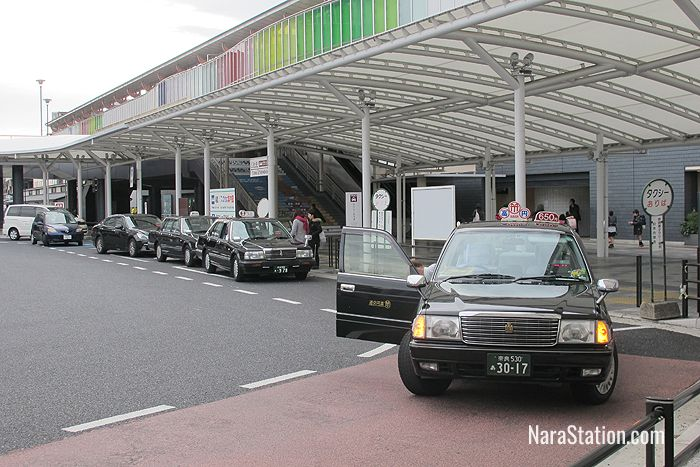 The taxi rank on the east side of JR Nara Station