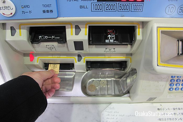 Collecting your ticket and change