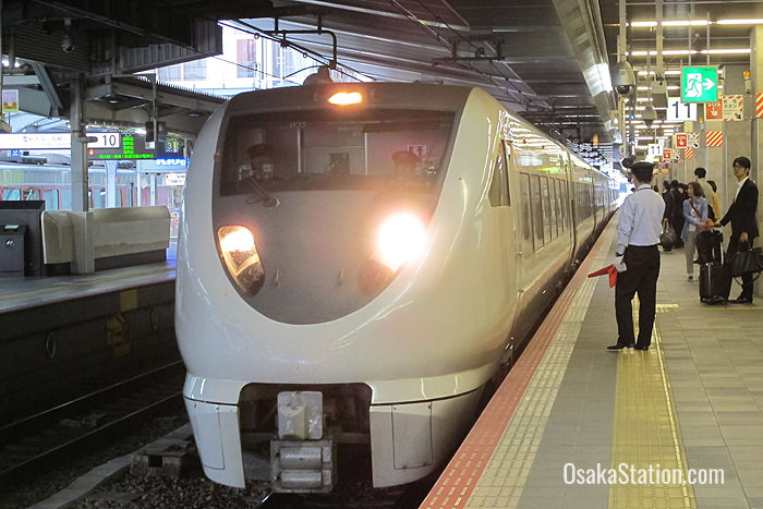 The Limited Express Thunderbird arrives at Platform 11, Osaka Station