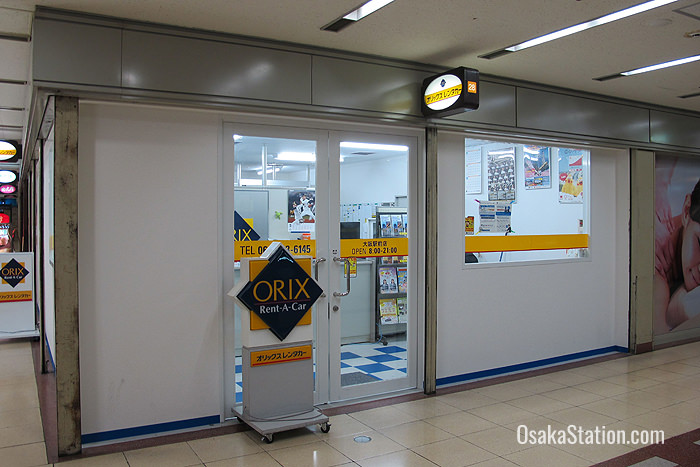 Orix Rent-a-Car is south of Osaka Station in the second basement of the Ekimae Dai 4 Building