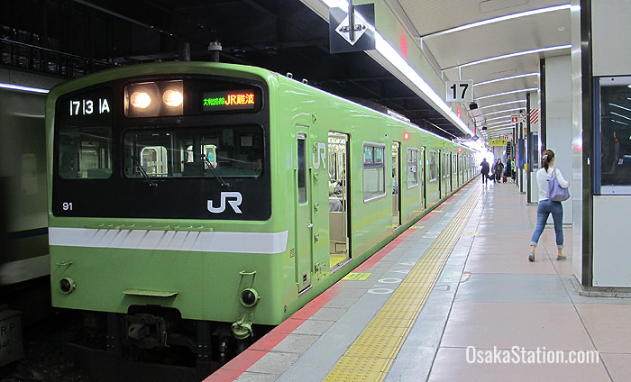 A Yamatoji Line train bound for Namba at Tennoji Station
