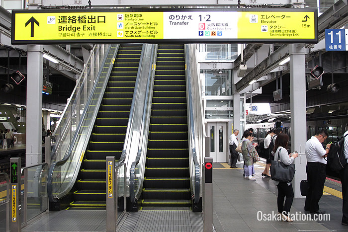 On arrival at Osaka Station you can access the raised walkway to Hankyu Umeda Station via the 3rd floor Bridge Exit