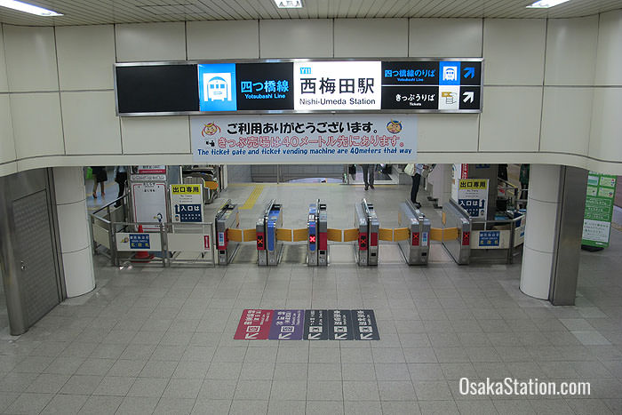 The gates for Nishi-Umeda Subway Station