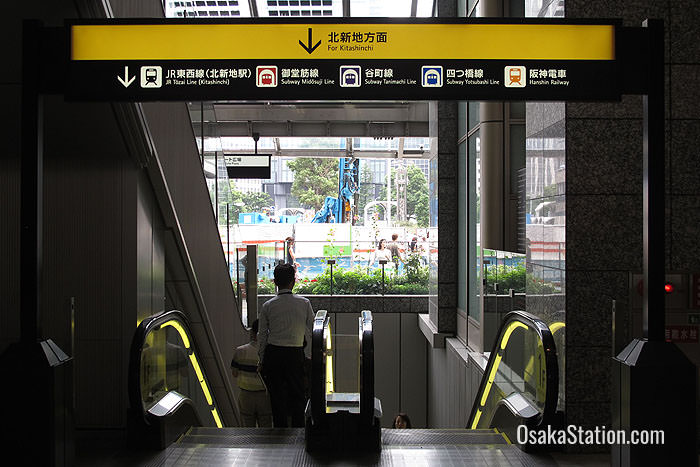 Use these escalators to get to Kitashinchi Station