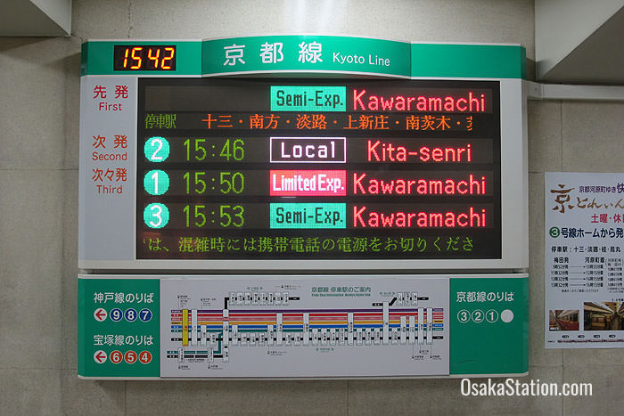 Departure times for the Hankyu Kyoto Line