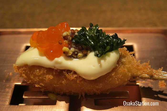 Deep fried salmon with salmon roe and French mustard