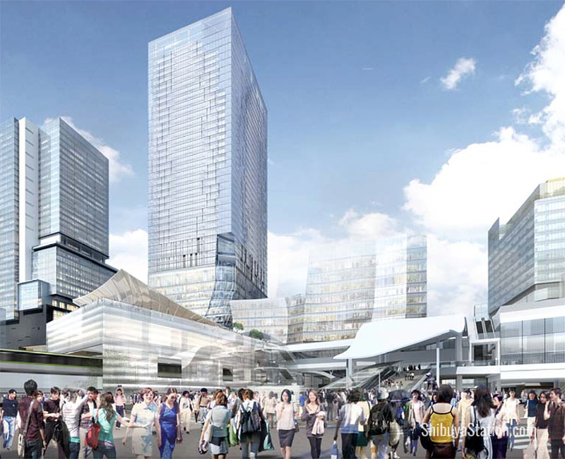 By 2027, Hachiko Square will be overshadowed by skyscrapers and a large passageway over the terminal. But where's the Hachiko statue?