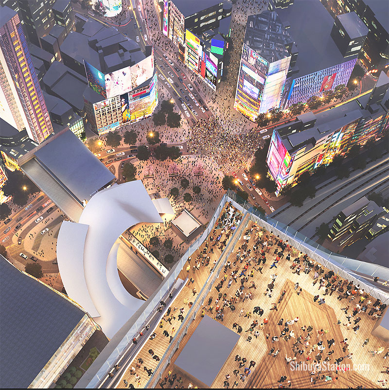 The promenade will have views of Shibuya Crossing below and the city lights