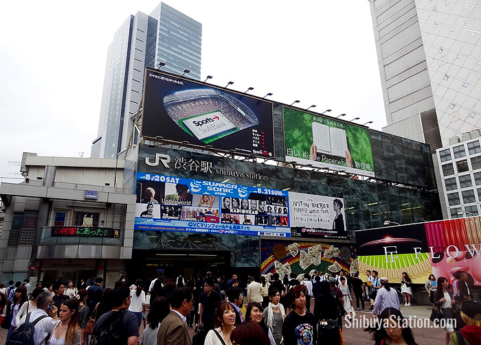 Hachiko Square's police box, or koban, is seen at lower left in this view of JR Shibuya Station