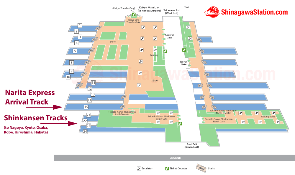 Transfer from Narita Express to Shinkansen at Shinagawa Station Map
