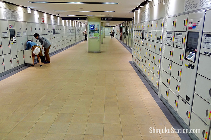Coin lockers at Shinjuku Station's West Exit underground corridor