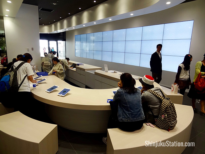 Staff and tablets are on hand to provide information at the Tokyo Tourist Information Center