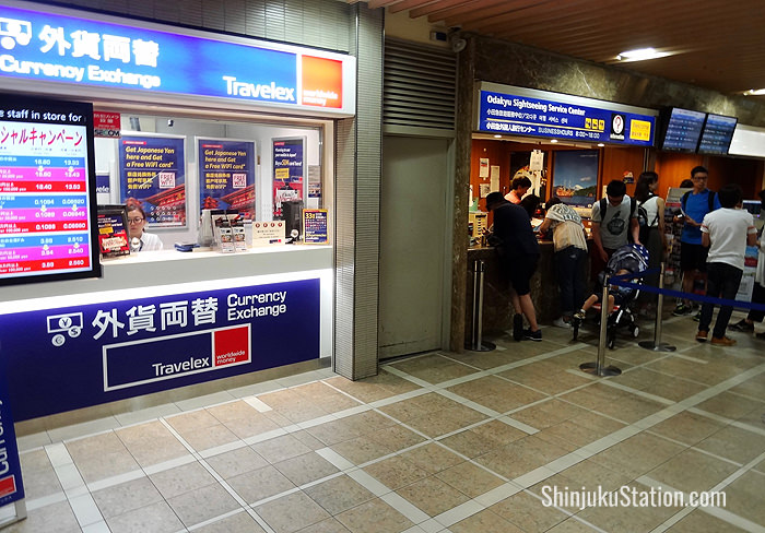 A Travelex booth by the Odakyu Sightseeing Service Center above the West Exit
