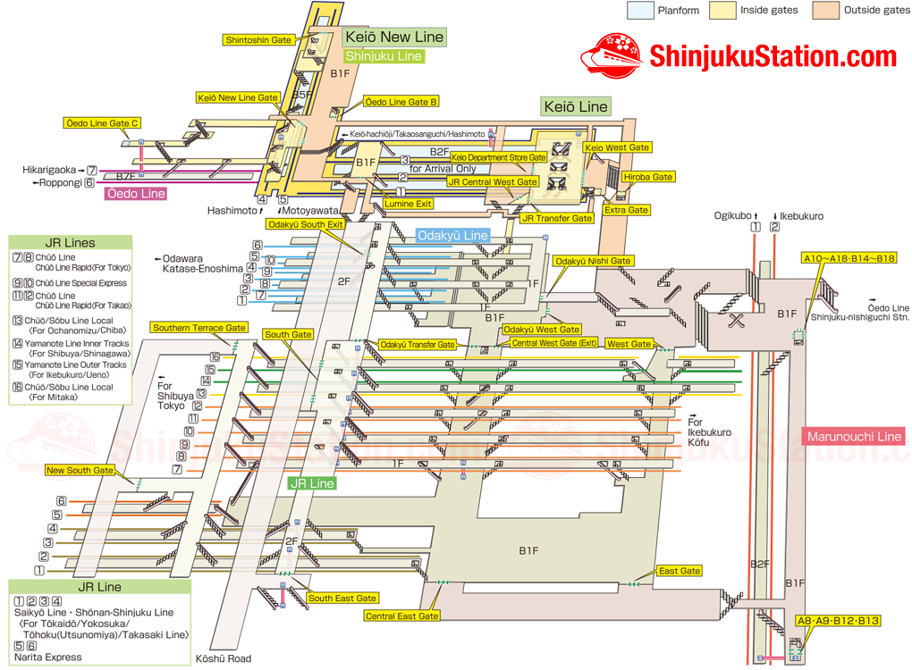 Shinjuku Station Platforms Map