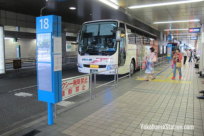 A bus for Gotemba at bus stop 18